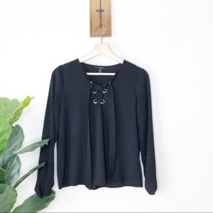 Forever 21 black tie up front silky blouse